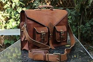 Radha Krishna Handicraft RKH 15 INCH Vintage Men's & Women Brown Handmade Leather Briefcase Best Laptop Messenger Bag Satchel (Brown 2)