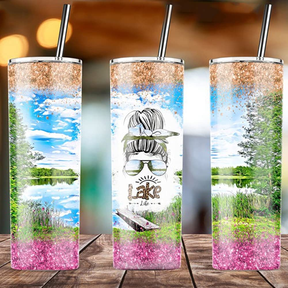 Lake Life Bun Girl Glass Watercolor Lake Gift for Father's Day Skinny Tumblers 20 Oz & 30 Oz with Lid and Straws, Travel Mug Vacuum Insulated Stainless Steel, Ice Drink, Hot Beverage