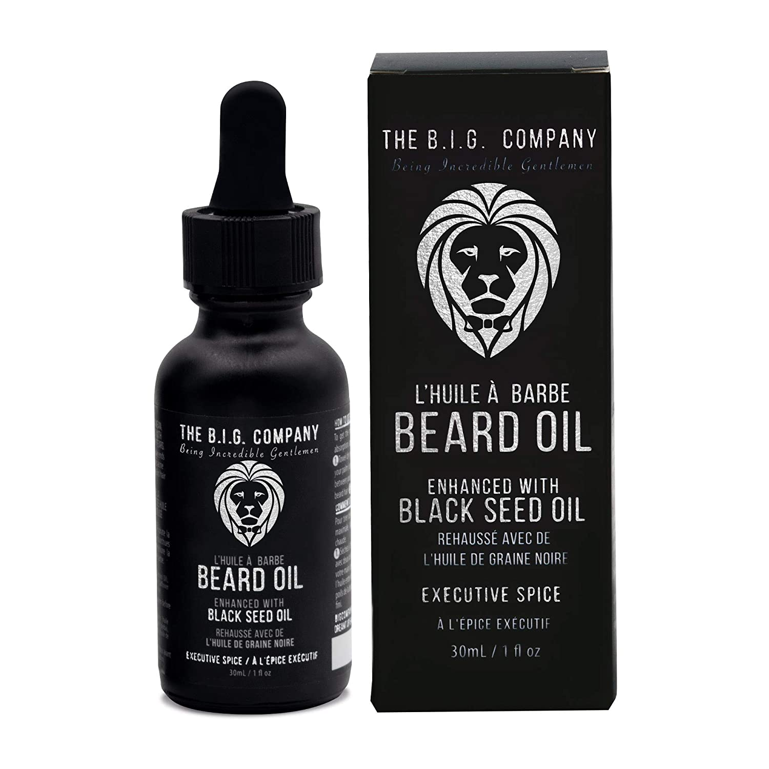 The B.I.G. Company Beard Oil – Executive Spice Scent – with Jojoba Oil & Ancient Blackseed Oil for Promoting Mustache & Beard Growth, Deep Conditioning, Helps Acne Prone Skin – Stops Itching, Strengthens Beard – Key to Your Thicker & Fuller Beard