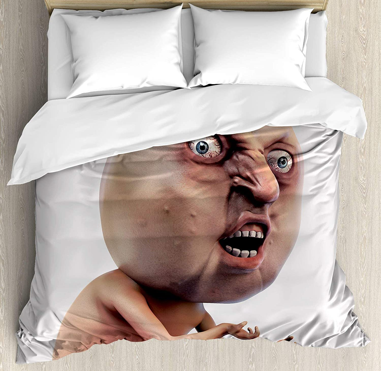 Amazon.com: USOPHIA Humor 4 Pieces Bed Sheets Set Full Size, Scary Internet Meme with Why You No Expression Angry Trolling Chat Digital Design Print Floral Duvet Cover Set, Peach: Home & Kitchen