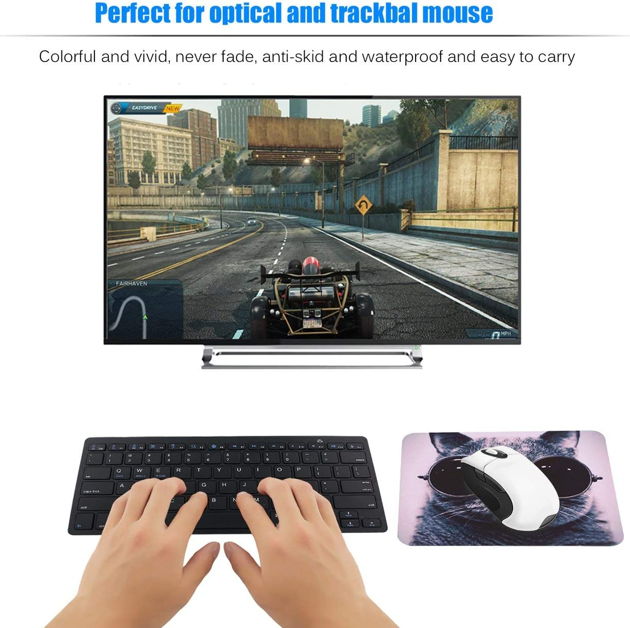 Liobaba Lightweight Waterproof Breathable Rubber and Smooth Fabric Cat Picture Anti-Slip Laptop PC Mice Pad Mat Mousepad