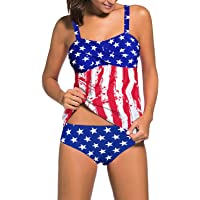 d7c6dbbcff7 Aleumdr Women's Solid Ruched Tankini Top Swimsuit with Triangle Briefs
