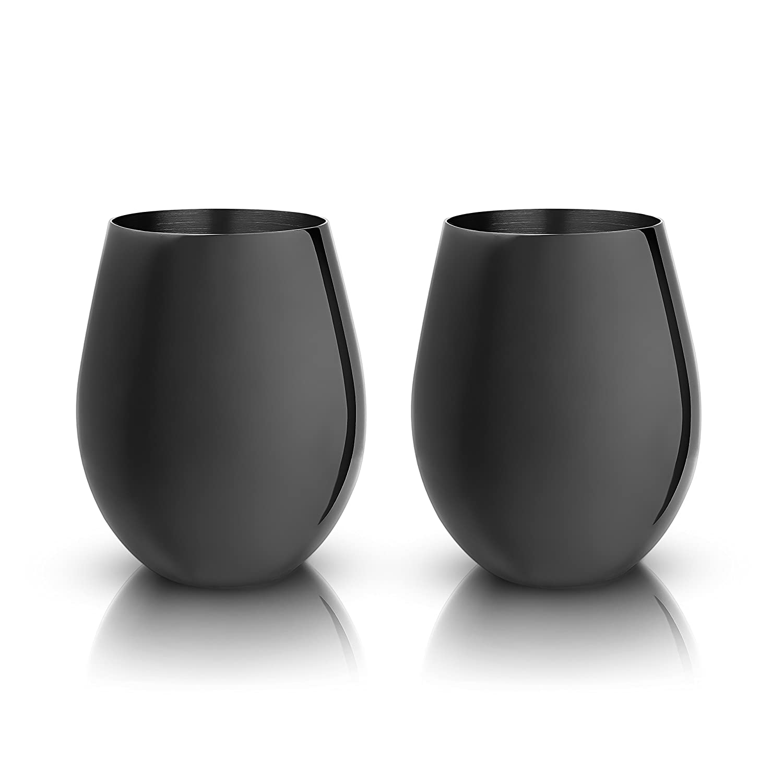 Viski 6455 Warren: Gunmetal Black Stemless Wine Glasses One Size Multicolored