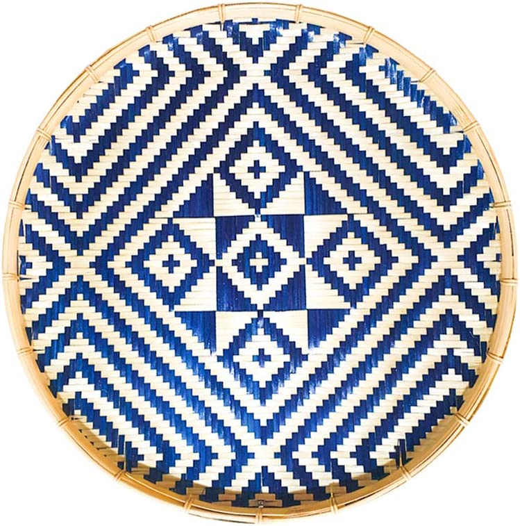 Round Woven Basket Tray, Natural Handmade Flat Bamboo Basket - Versatile Use: Bohemian Wall Décor, Decorative Fruit Baskets, Serving Wicker Bowl. Blue