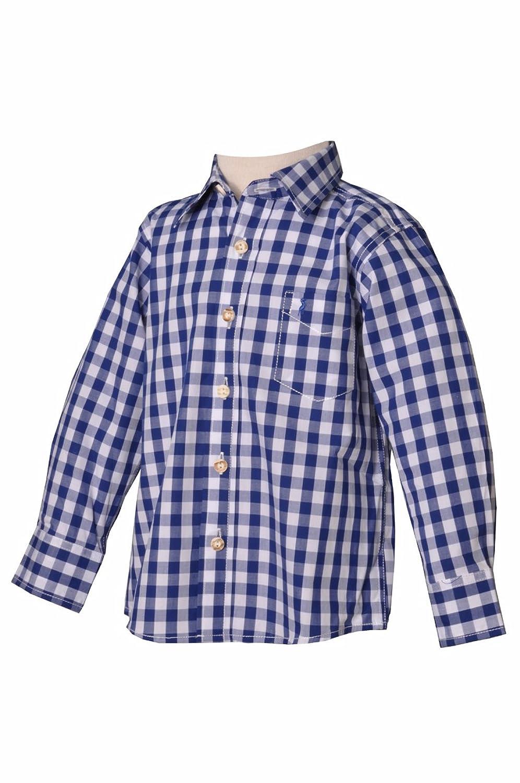 Kinder Trachtenhemd Leonhard blau langarm Almsach