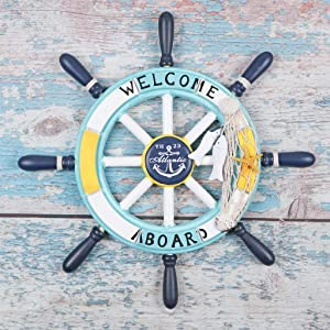 "MDLUU 13.4"" Wooden Ship Wheel, Welcome Aboard Ship Rudder Decor, Helm Wheel Wall Hanging Ornament for Mediterranean Nautical Bathroom, Party Decor"