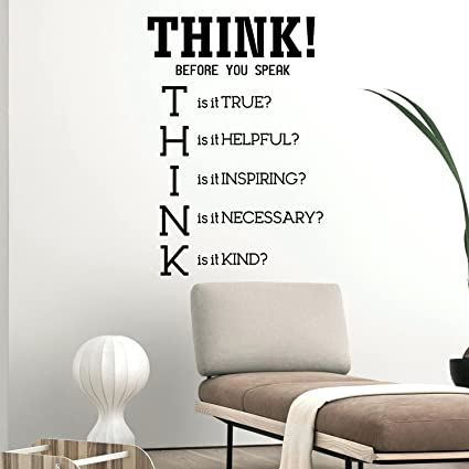 Amazon.com: Think! Before You Speak - Inspirational Quotes Wall Art ...