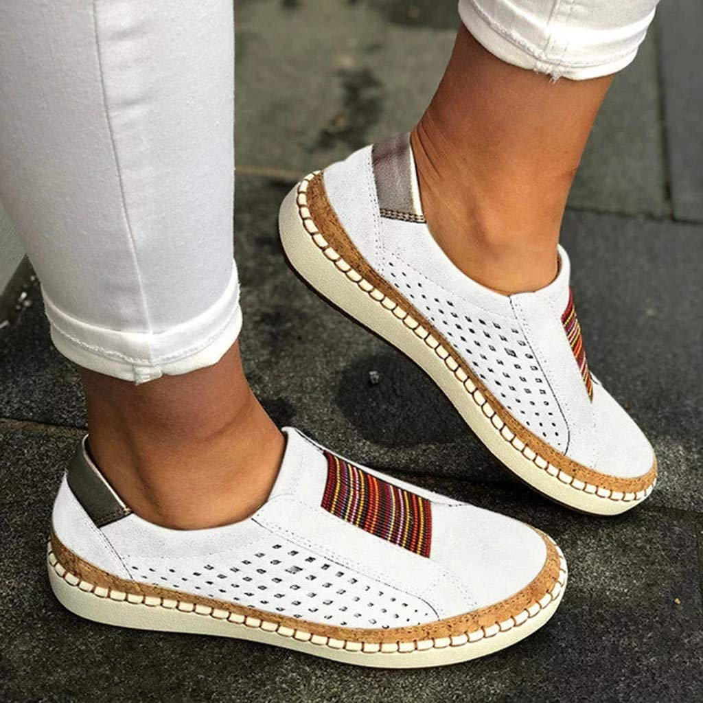 Women Hollow Out Breathable Sports Flat Shoes Round Toe Outdoor Basic Fashion Shoes Bovake Casual Slip On Summer Shoes
