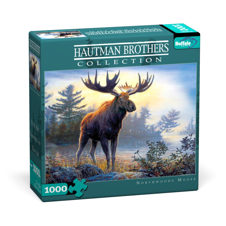 1000pc Jigsaw Puzzle Northwoods Moose Buffalo Games Hautman Brothers