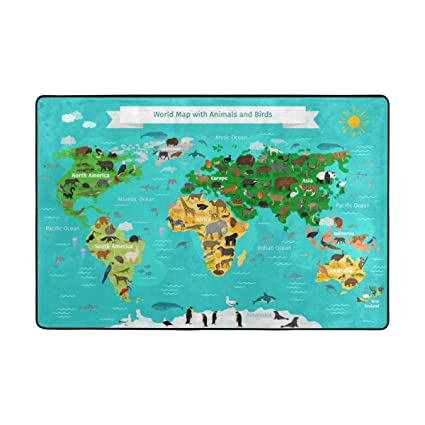 Random World Map.Amazon Com La Random World Map With Animals And Birds Area Rug Home