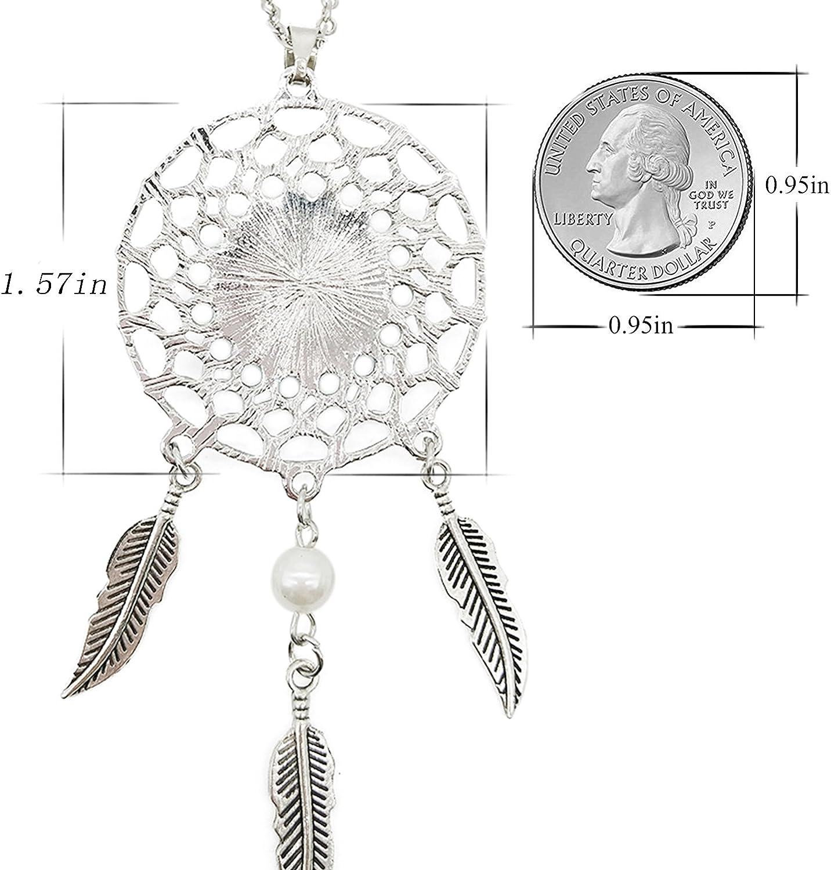 Queen Area Dream Catcher Necklace Alchemist Pendant Dangling Feather Tassel Bead Charm Chain Jewelry for Women