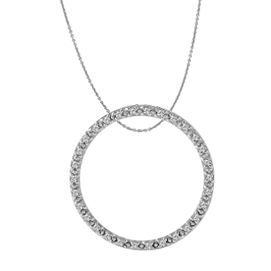 Amazon Com 0 3 Carat Natural Diamond 10k White Gold Circle Pendant