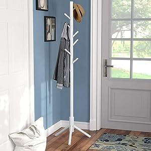 Vlush Sturdy Coat Rack Stand, Entryway Hall Tree Wooden Coat Rack Hanger for Coat,Jacket,Hat,Clothes,Purse,Scarves,Handbags,Umbrella-(8 Hooks,Ivory White)