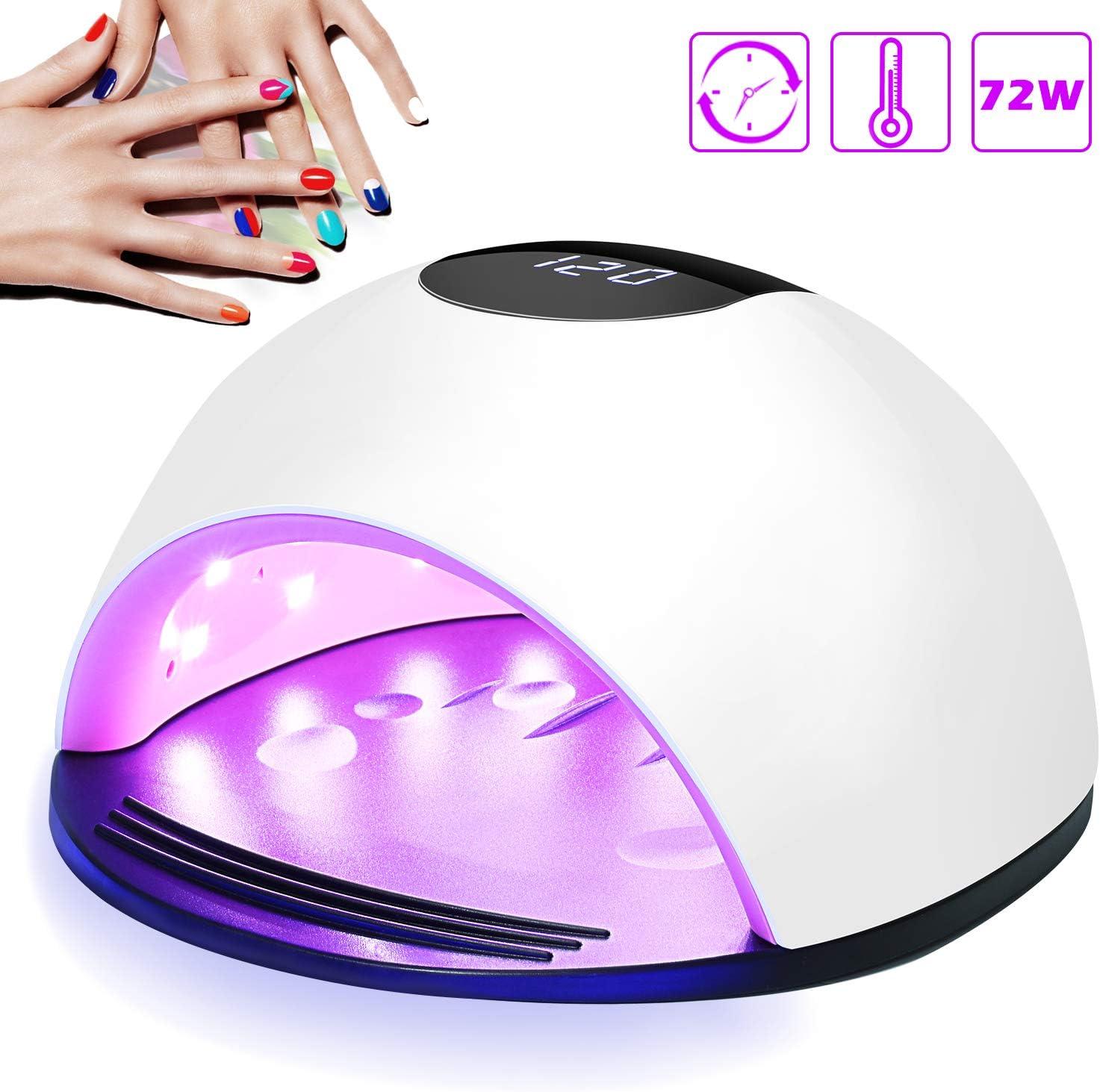 Lámpara LED UV Uñas, Nivlan 72W Lámpara LED Uñas Pantalla LCD Secador de uñas de Botón Táctil Sensor Automático de infrarrojos, Lampara uñ