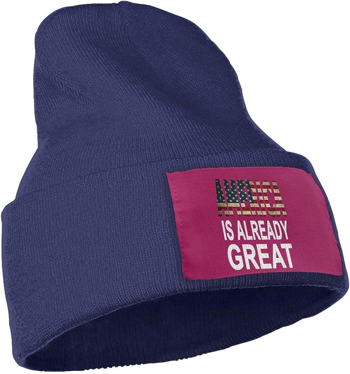 Poii Qon America is Already Great Beanie Hats Wool Skull Cap for Women Men