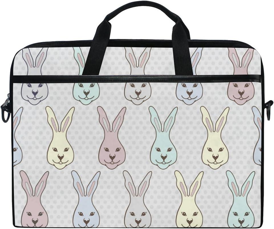 JSTEL Cute Rabbit Laptop Shoulder Messenger Bag Case Sleeve for 14 inch to 15.6 inch with Adjustable Notebook Shoulder Strap