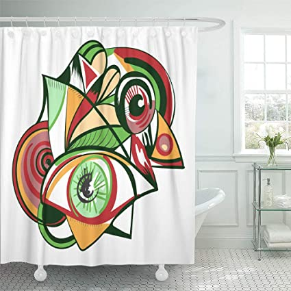 Emvency Shower Curtain Picasso Design With Eyes White Style Of Abstract Suprematism Constructivism Suitable And Cubism