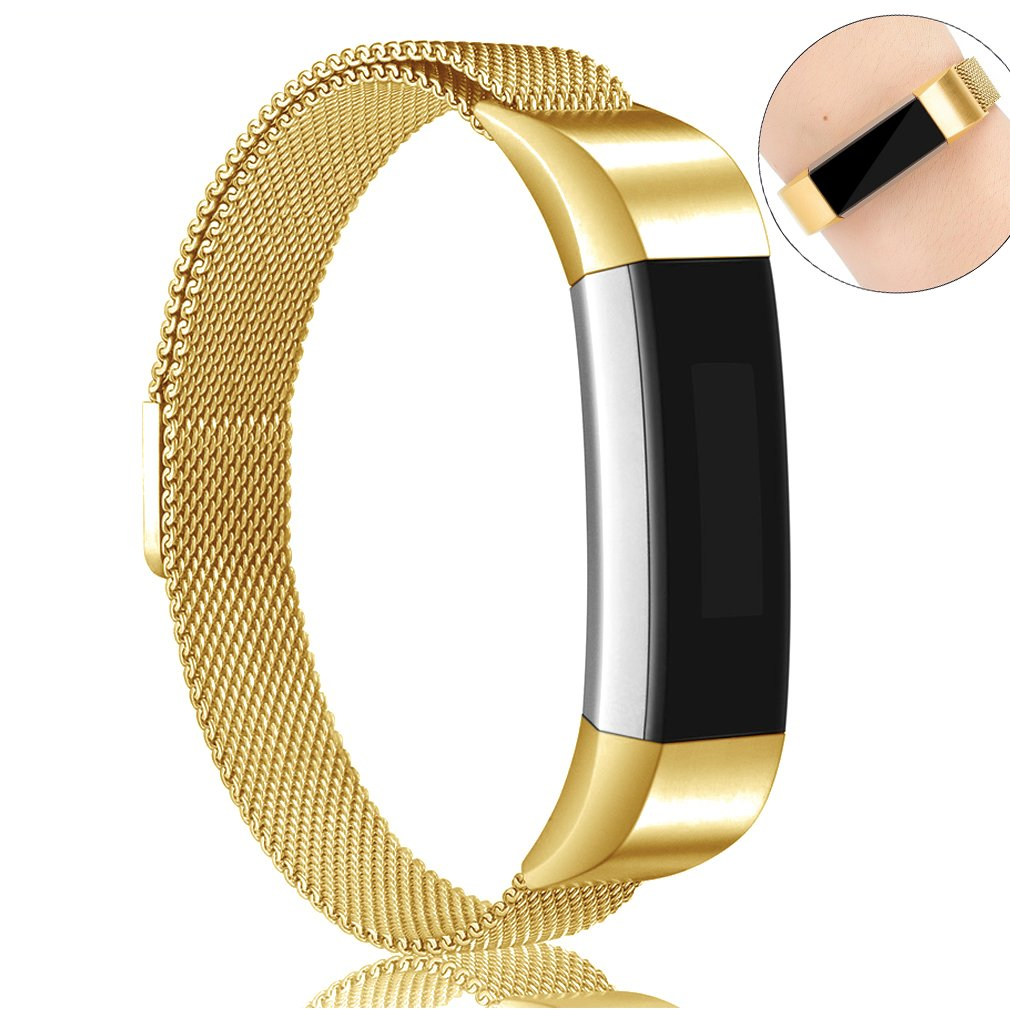 AK for Fitbit Alta HR Bands Milanese Stainless Steel Small Large Magnetic Closure, Adjustable Alta HR/Alta Accessories Metal Bands Straps for Fitbit Alta HR 2017/ Fitbit Alta 2016 (Gold, Small)
