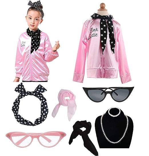 Amazoncom Dancing Stone Child Girls 50s Pink Jacket Costume With