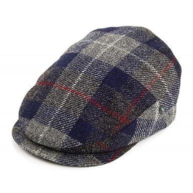City Sport - Extended Peak - Harris Tweed Flat Cap - Navy Blue Charcoal  Grey Check 5dcc6d5f3b0f