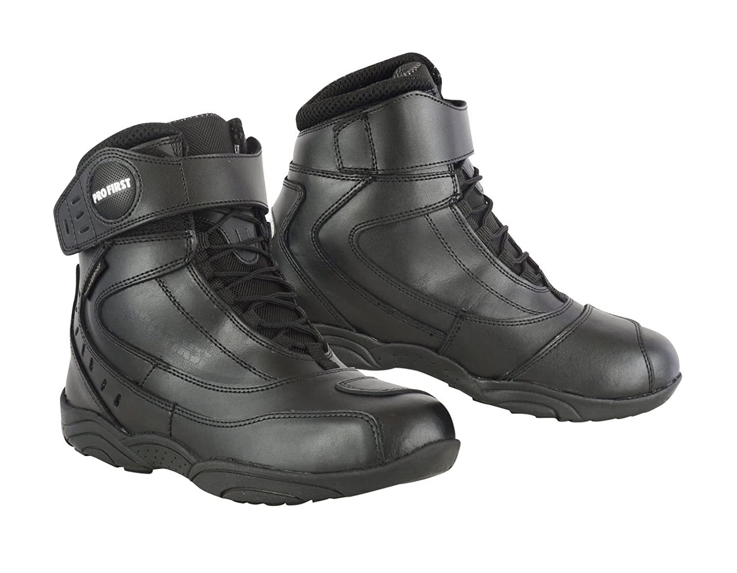 REXTEK Winter Mens Motorcycle Boots Rider Boots Black Waterproof Motorbike Leather Touring Shoes for Mens Boys 7 //EU 41