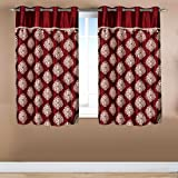 Home Candy Exquisite Collection Paisley 2 Piece Eyelet Polyester Window Curtain - 5ft, Maroon