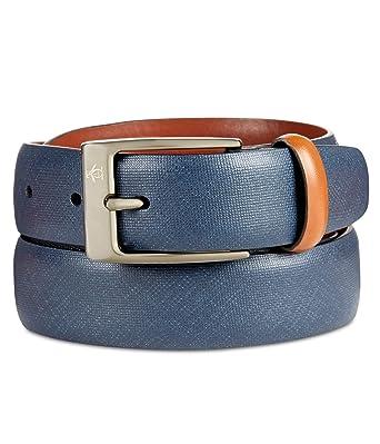 c56b727c66 Amazon.com: Original Penguin Men's 32mm Saffiano Leather Belt, Navy ...