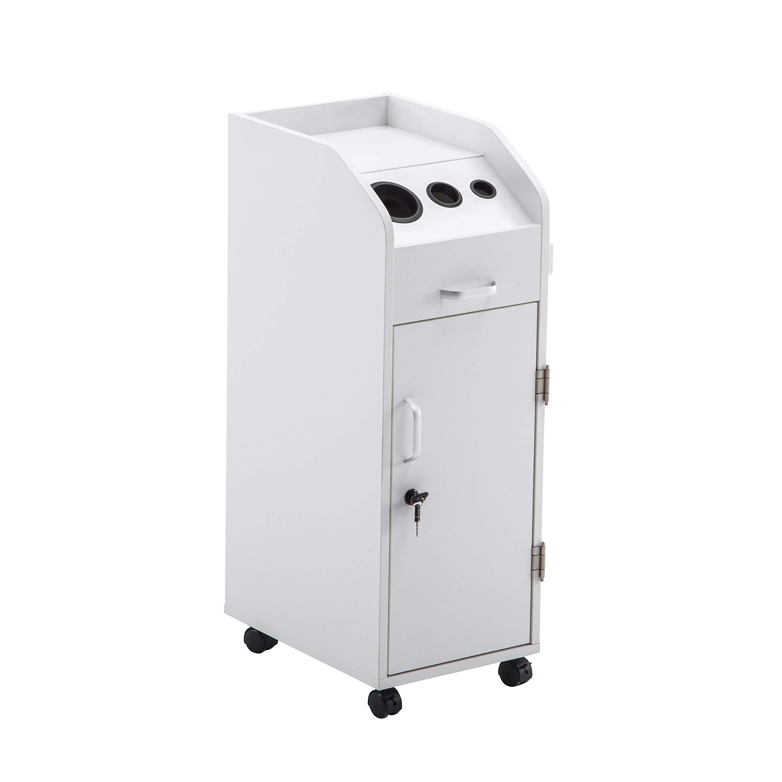 BarberPub Beauty Salon Trolley Storage Cart Hair Dryer Holder Stylist Equipment with Lockable Rolling Wheels, Drawer (White)