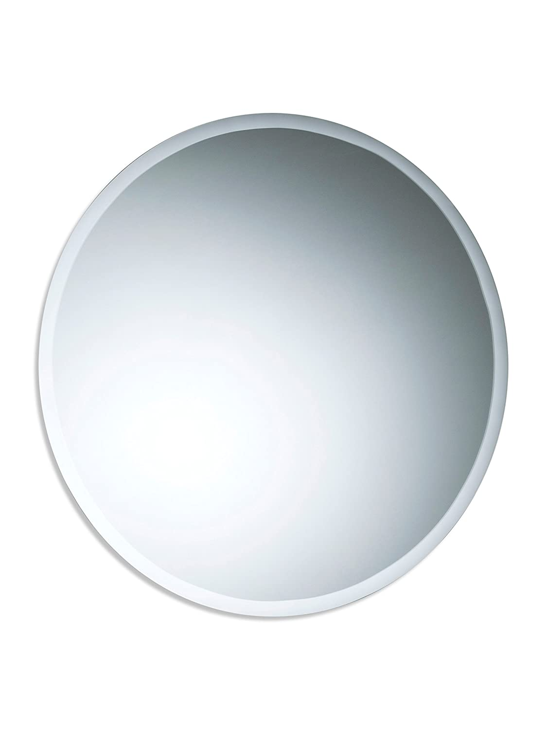 BATHROOM WALL MIRROR Simple Design ROUND WITH BEVEL Frameless Plain Mirror 40cm x 40cm Neue Design