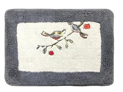 Kridhay Natura Life Indirugs Living Cotton Embroidery Soft, Machine Washable and Anti Slip bathmat (40 X 60 cm, Charcoal)