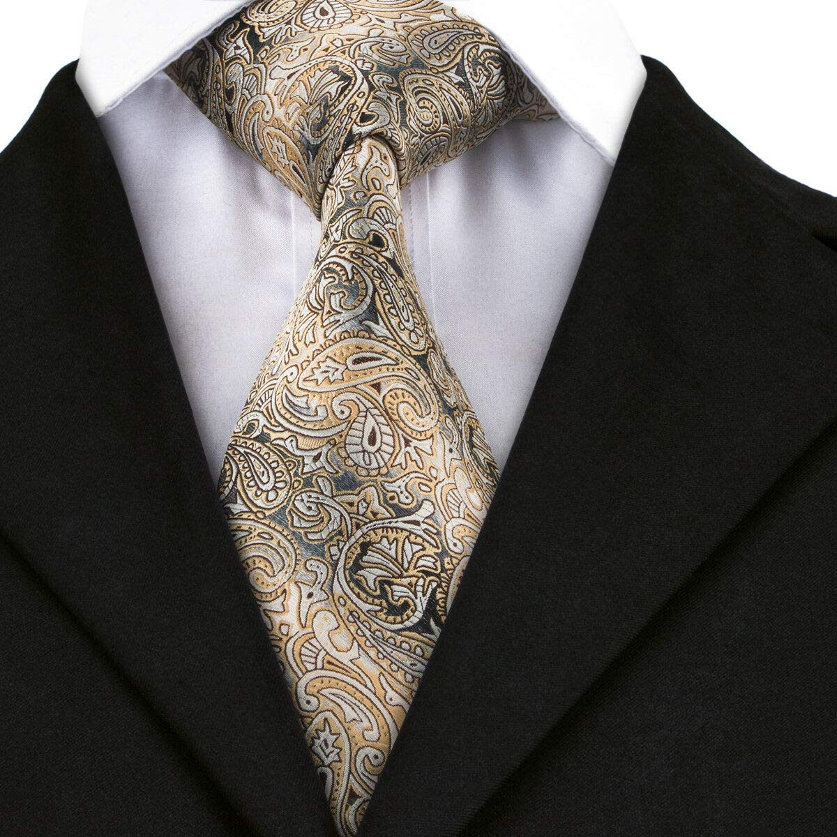 Irvint /& Co Silk Mens Tie With Pocket Square And Cufflinks Set Yellow Paisley Silk Woven Wedding Party Necktie Formal Dress USA
