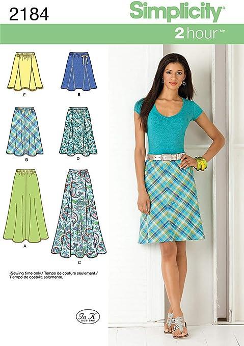 Simplicity 2184 - Patrones de Costura de Faldas para Mujer (Tallas ...