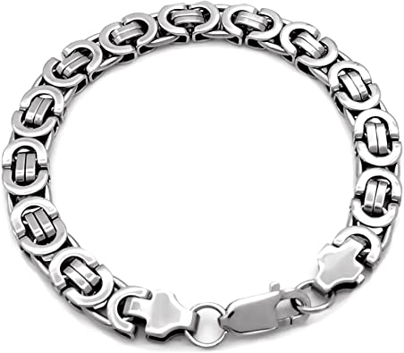 "7/""-11/""MEN Stainless Steel 9mm Black Silver Byzantine Box Link Chain Bracelet"