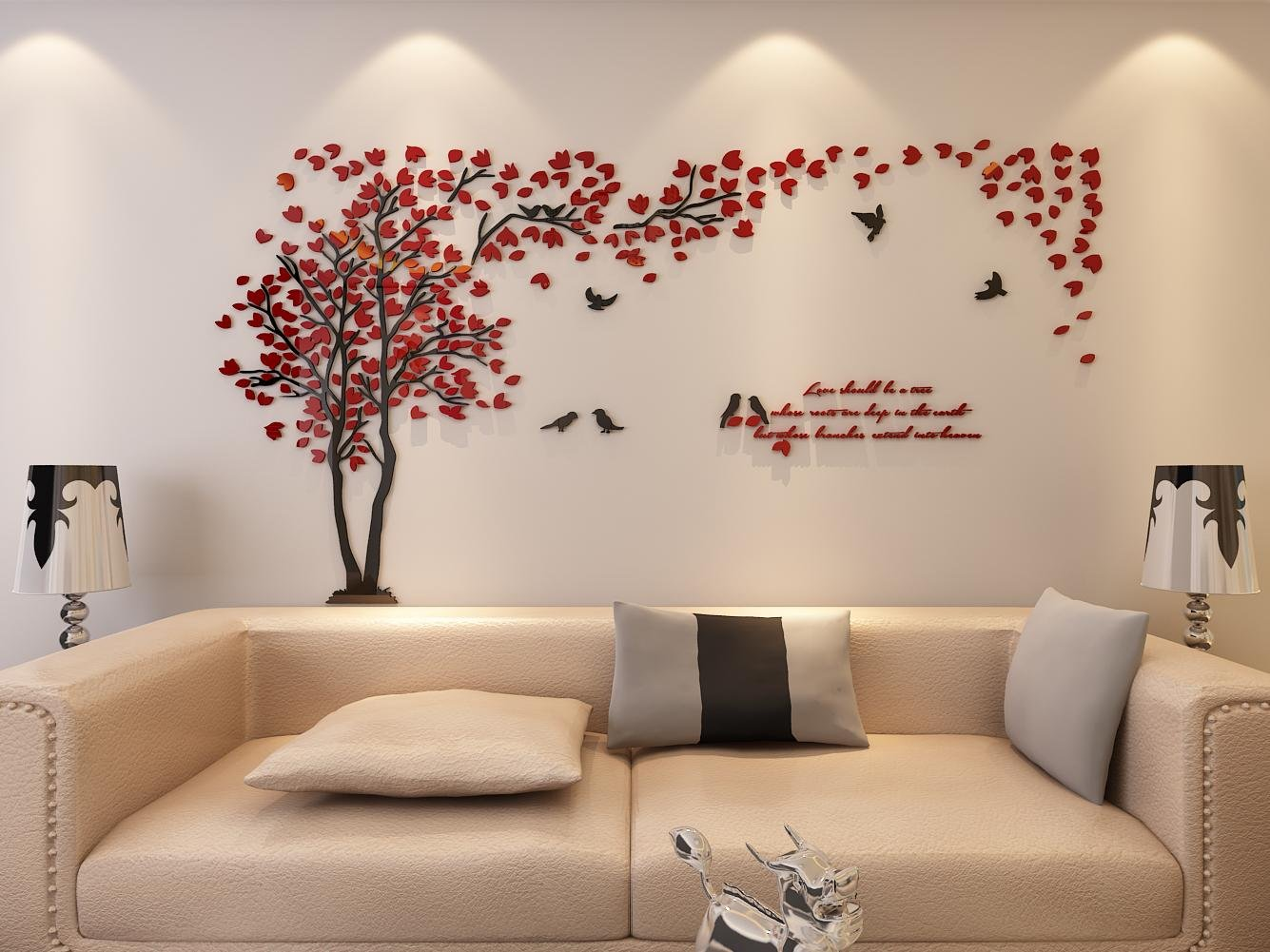 Galleon 3d couple tree wall murals for living room - Wall sticker ideas for living room ...