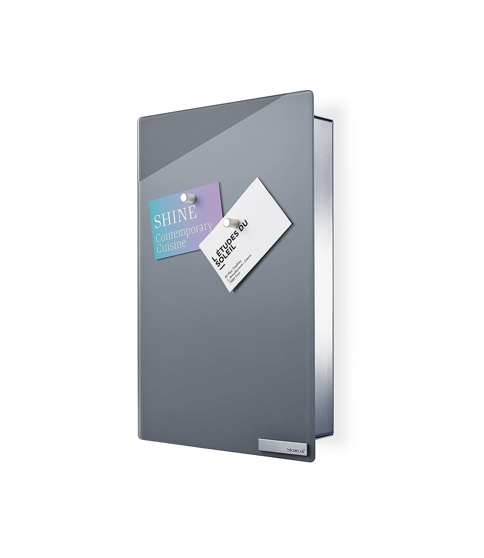 Blomus 65372, Cassetta portachiavi/Pannello magnetico in vetro Velio, Grigio (Grau)