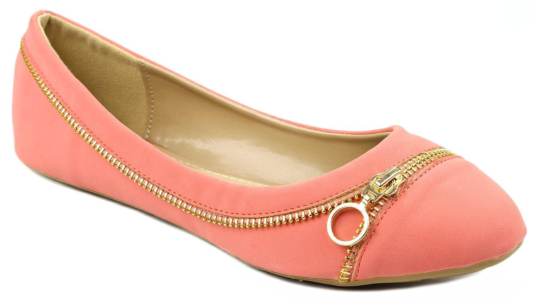 Larisa15 Golden Zipper Decor Loafer Ballet Flat Dress Shoes B00ZE965K6 5 B(M) US Coral NUB