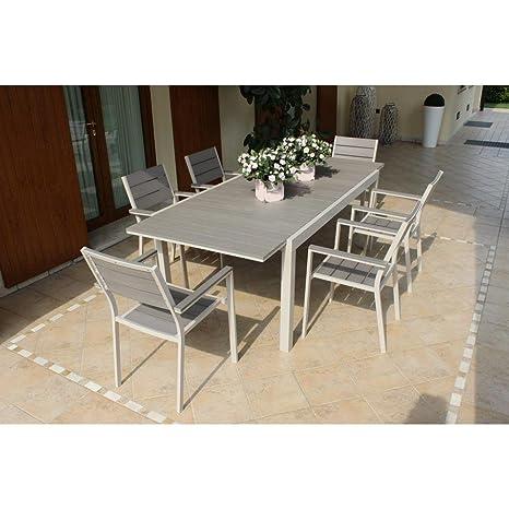 Tavolo Rettangolare Allungabile In Alluminio E Polywood Tortora 180 ...