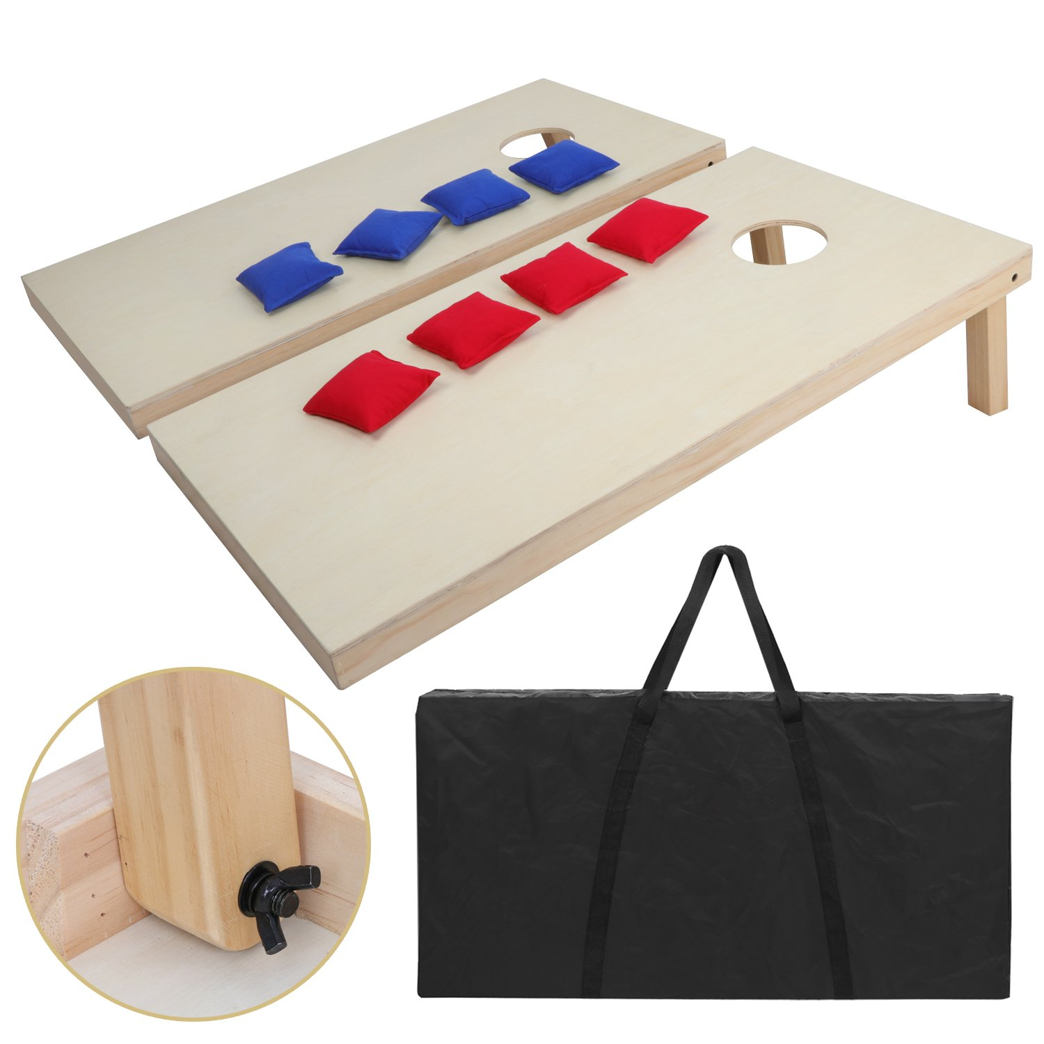 3ft X 2 ft Cornhole Bean Bag Toss Game Set Solid Wood Portable Design W/Carrying Case for Tailgate Party Backyard BBQ