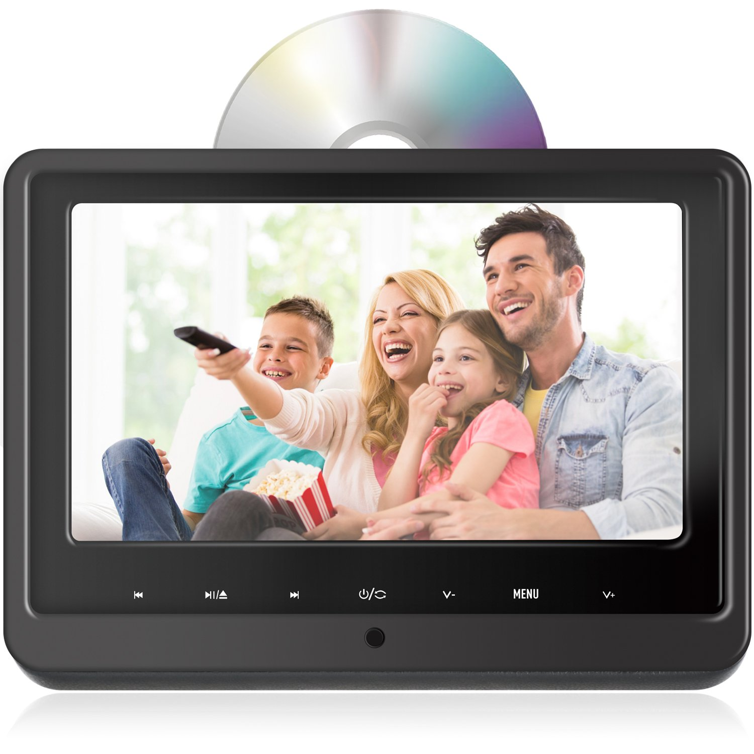 Headrest DVD Player for Car Can Use Both in Car or at Home as DVD Player eRapta EHD102 Second Generation by eRapta