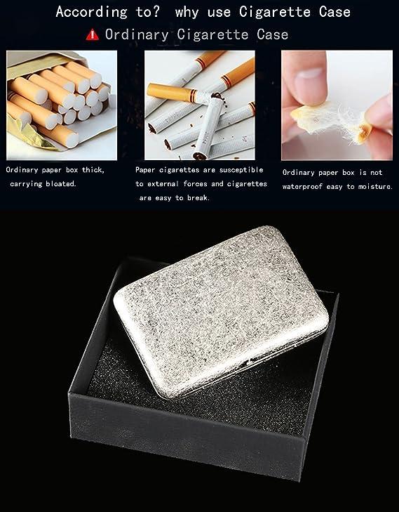 CaLeQi Antiguo Cobre Color De Plata, Sostiene Cigarrillos 16. (Con La Caja De Regalo De Marca)