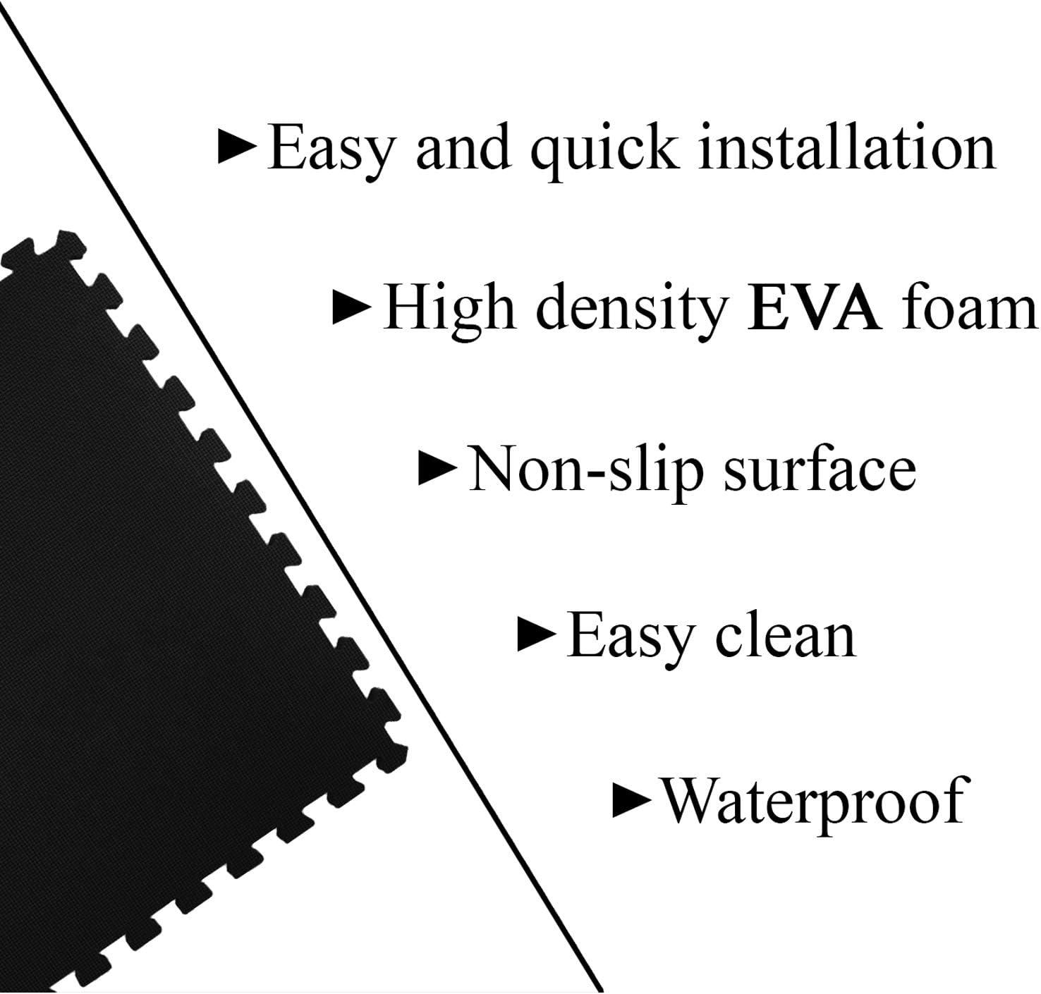 Grey, 20 Piece BLADO Interlocking Foam Mats Soft Floor Mat EVA Puzzle Foam Exercise Floor Play Mats