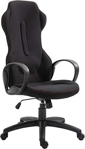 Vinsetto High Back Racing Style Gaming Office Chair Ergonomic PC Computer, Linen Fabric, Black Red