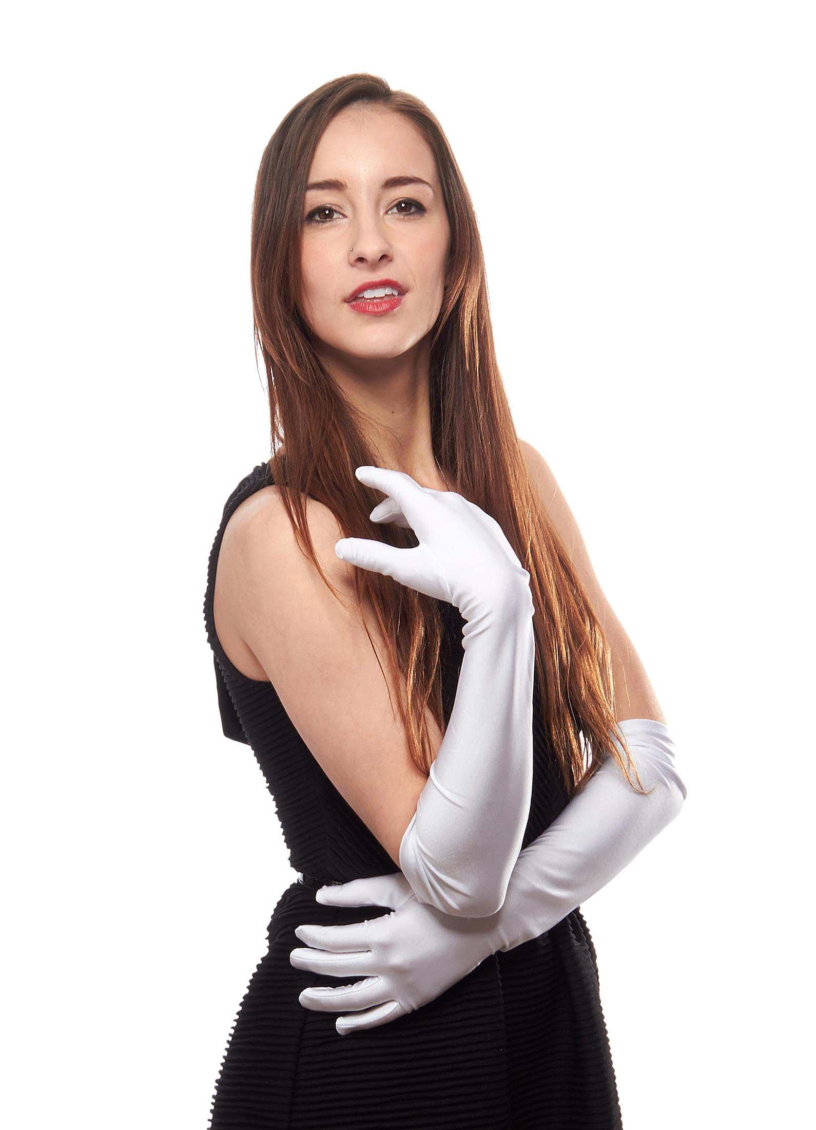 Matte Satin Over Elbow Gloves, White