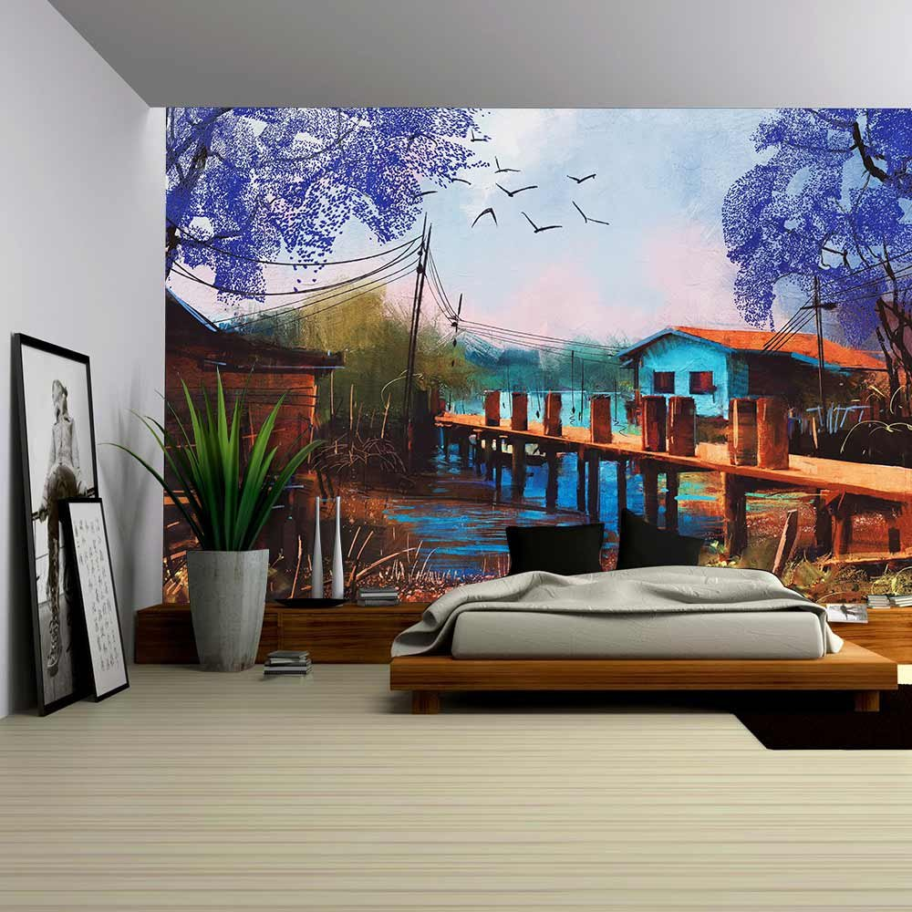 Old Fishing Village Oil Painting Style Wall Murals Wall26