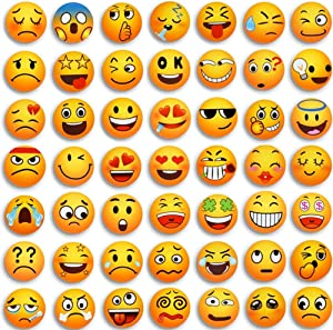 54PCS Emoji Magnets for Fridge Refrigerator Cute Funny Locker Magnets Kitchen School Cabinets Classroom Whiteboard Office Cubicle Magnetic Board Decorative Magnets Gifts for Adults Kids Party Favors