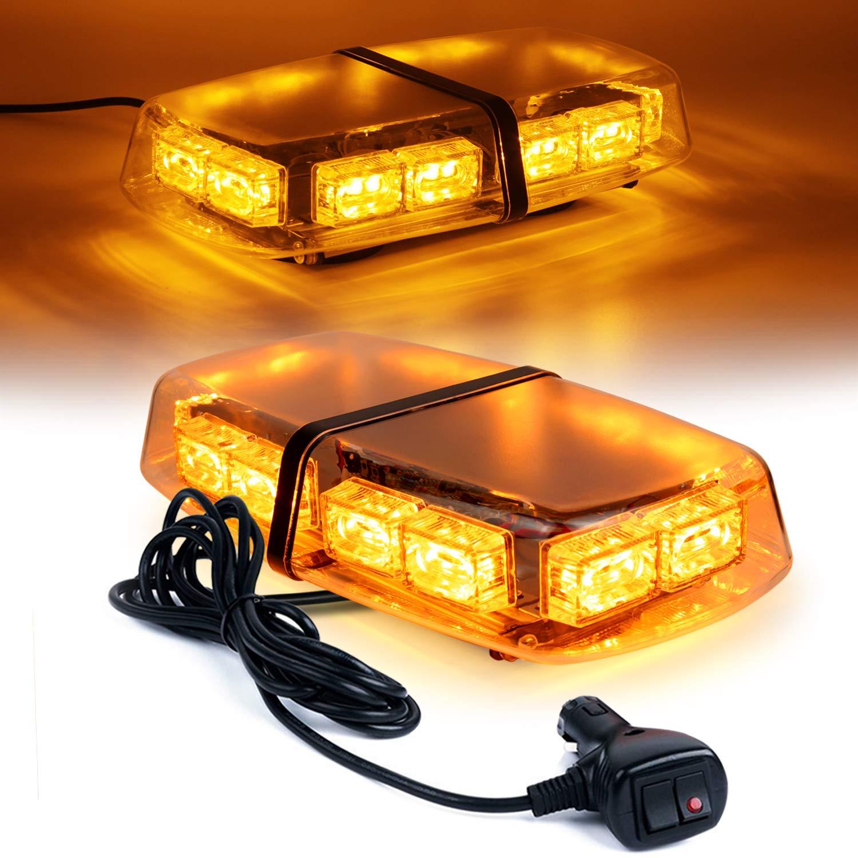 Amber Linkitom LED Strobe Warning Light 36 LED High Intensity Emergency Flashing Lamps//Hazard Warning Mini Lighting Bar//Beacon//with Magnetic Base for Car Trailer Roof Safety