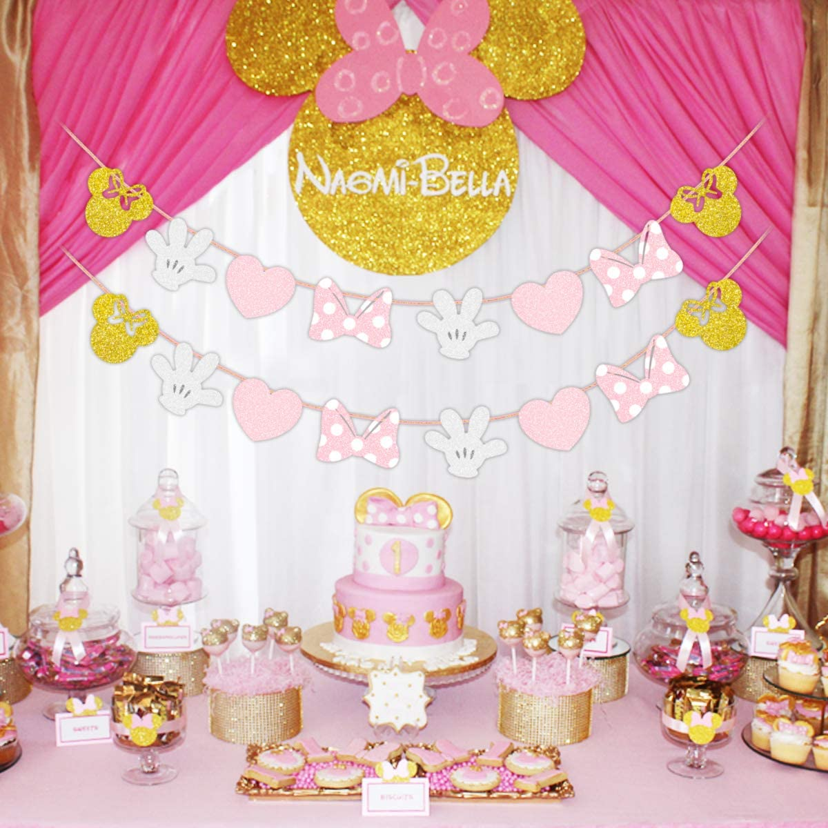 GIRLS 3rd BIRTHDAY BANNER PARTY BUNTING DECORATION PINK AND GOLD