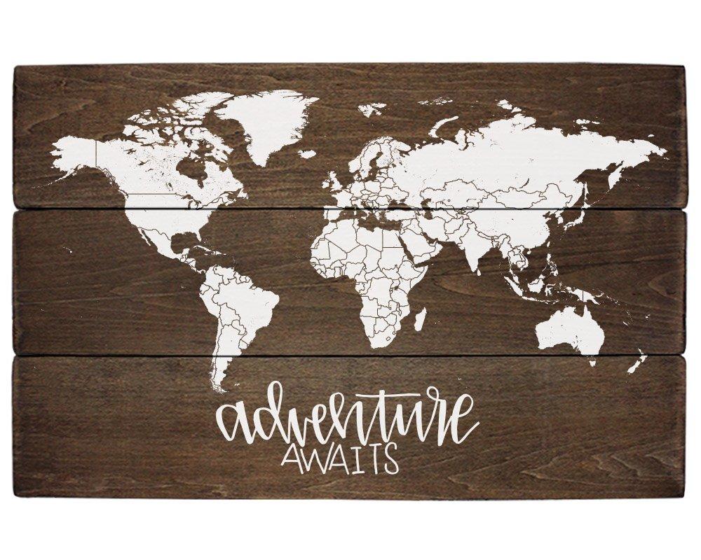 Elegant Signs Adventure Nursery Rustic Decor World Map Adventure Awaits