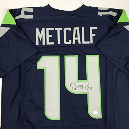 innovative design 7f098 0a7f2 Autographed/Signed DK D.K. Metcalf Seattle Blue Football ...