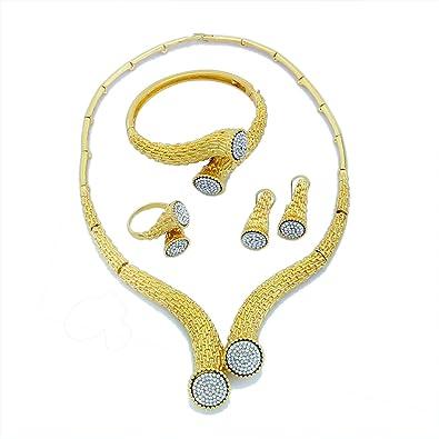 6fac1902f10 Yulaili Bijoux Bijoux Tendance pour Femme Définit Africain Fantaisie  Collier Mode Charms Bracelet Femme plaqué Or